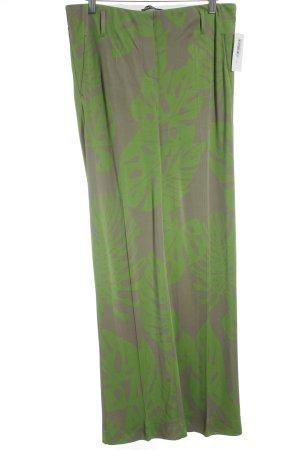 Luisa Cerano Stoffhose grüngrau-grasgrün florales Muster extravaganter Stil