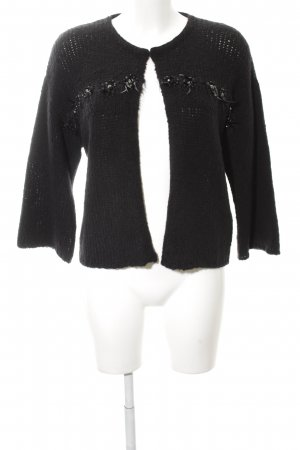 Luisa Cerano Bolero lavorato a maglia nero punto treccia stile casual