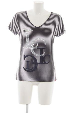 Luisa Cerano T-shirt col en V blanc cassé-bleu foncé style décontracté