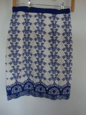 Luisa Spagnoli Jupe en dentelle bleu-blanc coton