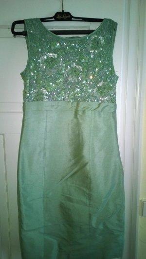 Luisa Spagnoli Off the shoulder jurk grijs-groen-lichtgroen