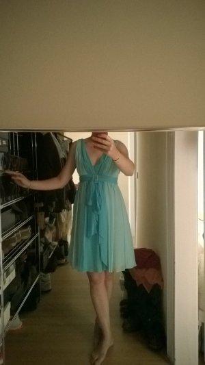 Luisa Spagnoli Robe épaules nues bleu clair-turquoise soie