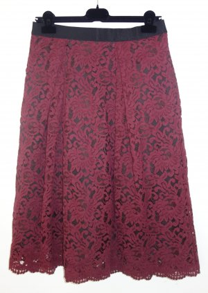 Luisa Spagnoli Lace Skirt bordeaux-carmine cotton