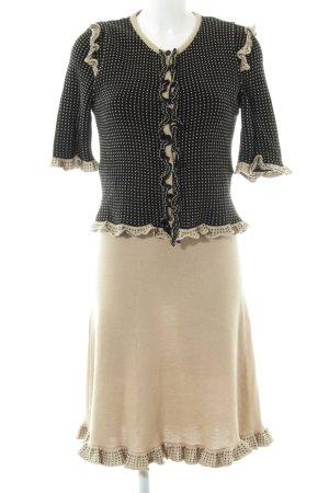 Luisa Spagnoli Ensemble en tricot crème-noir imprimé allover élégant