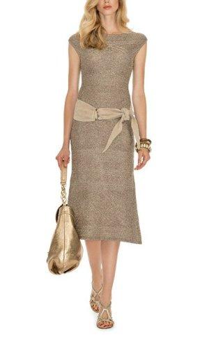 Luisa Spagnoli Lederen riem licht beige-goud Leer