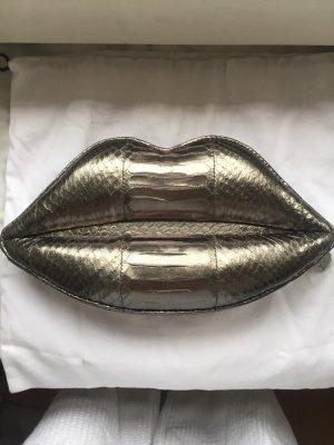 Lulu Guinness Tasche Silber mit Schlangenoptik
