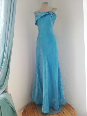 Lulu H vintage Kleid Abendkleid hellblau Gr. 38 S M schimmernd lang gerafft Trägerkleid