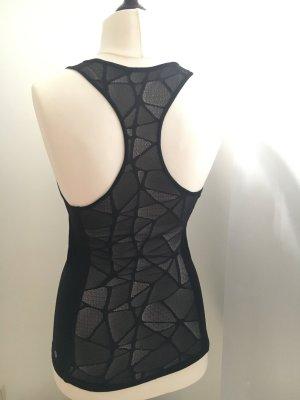 Lululemon Sportshirt mit durchsichtigem Rücken in schwarz