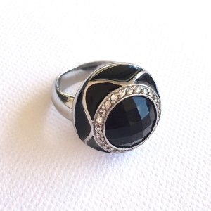 Statement Ring silver-colored-black stainless steel