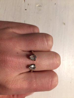 "Lumo Jewelry "" PEAR TOPAZ CUFF RING"" Open Ring Echtsilber Sterling Silber Steine Glitzer"