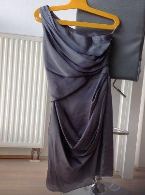 One Shoulder Dress silver-colored silk