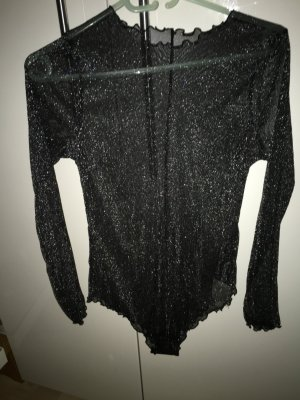 H&M Blusa tipo body negro-color plata