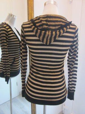 Lurex Kaputzen Shirt Pulli schwarz gold Gr S