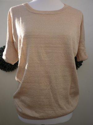 Lurex Pullover gold Pulli nude Langarm Shirt 42