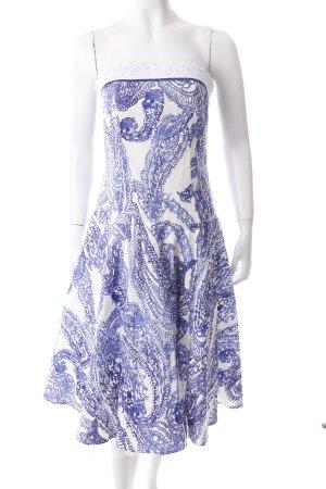 Lussile Robe avec jupon blanc-bleu motif d'art style des années 50