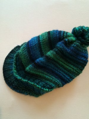 Beanie forest green-blue wool
