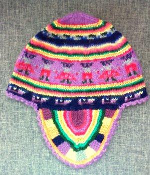 Sombrero de punto lila Lana