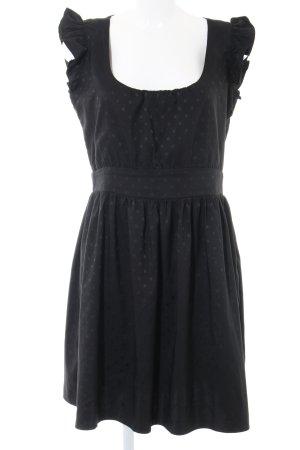 LUX. Babydoll-jurk zwart gestippeld patroon casual uitstraling