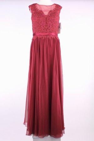 Luxuar Limited langes Kleid mit Tülleinsatz, bunten Paillettenverzierungen und passender Stola rot Größe 44