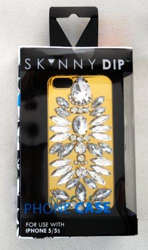 Étui pour téléphone portable doré-blanc