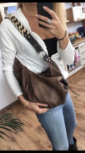 Luxuriöse Hobo- Bag von Muubaa aus braunem Leder, Vintage, Seventies, Hippie Style!