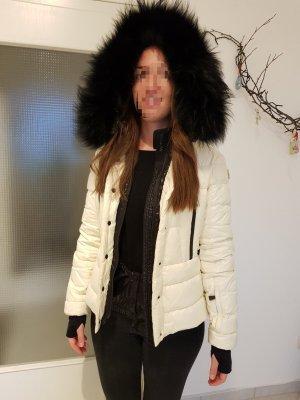 Luxuriöse Moncler Grenoble Bever White Winterjacke/ Skijacke mit Waschbärfell Gr. 38