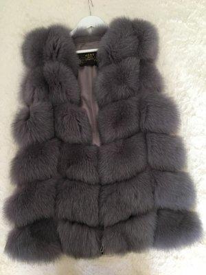 Gilet en fourrure gris violet-gris foncé fourrure