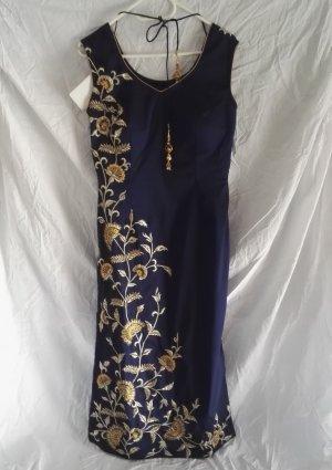 luxuriöses Seide Kleid 3er Set Indisch Salwar Kameez viel Stickerei Blau/Gold Gr.38/40