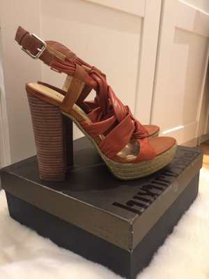 Luxury rebel High Heel Sandal dark orange-orange imitation leather