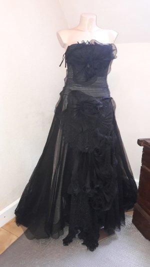 Luxus Abendkleid BCBG Max Azria USA Tüll Blumen Motiv Schwarz Töne mit Glitter