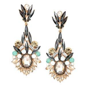 Luxus Abendschmuck Abi Ball Hochzeit Schmuck Lange Ohrringe Kristall Klar Transparent Opal Honig Grau Minz 8,8 cm lang