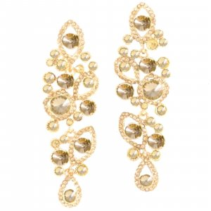 Statement Earrings gold-colored-sand brown glas