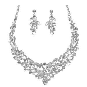 Luxus Abendschmuck Hochzeit Brautschmuck Cocktail Ball Schmuckset Set Silber Kette Collier Necklace Lange Ohrringe Anhänger Kristall Klar Transparent