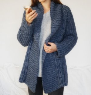 Luxus Alpaca Wolle Cardigan Strickjacke warm & weich blau S 36