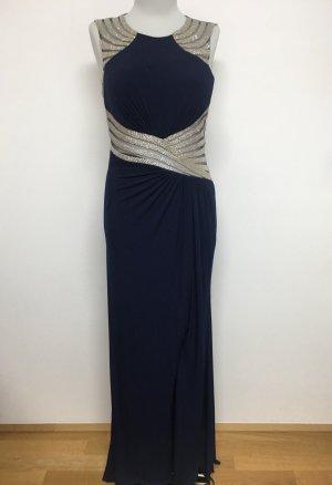 Luxus Ballkleid dunkelblau silber