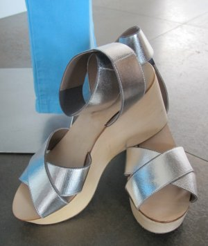 Belle by Sigerson Morrisson Wedge Sandals silver-colored-beige leather