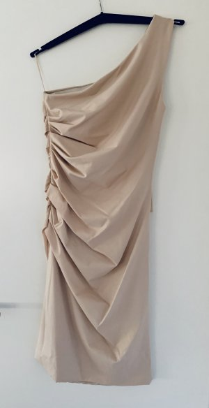 Sportmax One Shoulder Dress cream silk