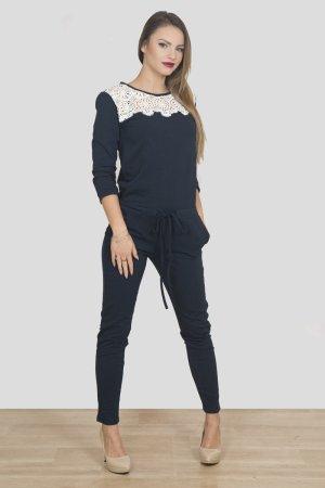 Luxus Damen Overall Jumpsuit Hosenanzug dunkel-blau m.Spitze passt 36-40