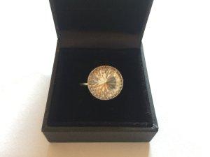 Luxus Damenring 375 Gold Weisse Topas 4,33 Karat mit Diamanten 0,20 Karat