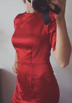 Luxus Designer Etuikleid Unikat rot elegant verführerisch Hochzeit Seide 38 M