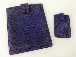 Luxus Designer Leder blau Duo Tasche für Handy und IPad mit Klettverschluss