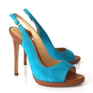 High Heels cognac-coloured-turquoise suede