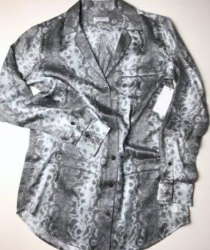 LUXUS - EQUIPMENT Bluse Seide Silk Pyjamastil animal print - grau - NP 369 €