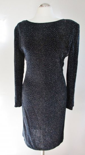 Luxus Etuikleid Joseph Ripkoff Größe L 42 Stretch Nachtblau Glitzer Blauschwarz Netz Kleid Langarm Abendkleid Party Klassisch