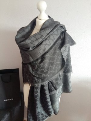 Luxus GUCCI Neu GG Schal/Tuch Wolle Seide 140x140cm