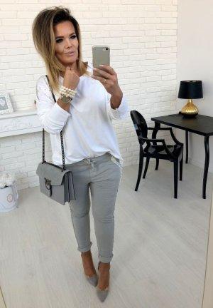 Luxus Hose mit Perlen bestickt + Strass Schmuck Pailetten BLING BLING Skinny Röhre Hüfthose Jogger Jumper Jogpants Stretchhose grau-Silber passt bei S- L