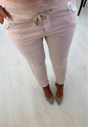 Luxus Hose mit Perlen bestickt + Strass Schmuck Pailetten BLING BLING Skinny Röhre Hüfthose Jogger Jumper Jogpants Stretchhose rose´- Silber passt bei S- L