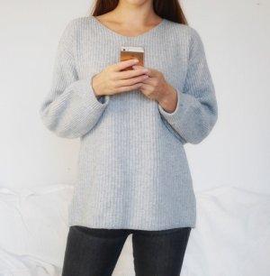 Luxus Kaschmir Merinowolle Cashmere Wollpullover Pullover Pulli grau weich Wolle M