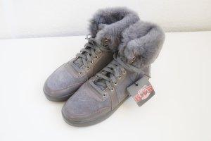 Botas de tobillo gris oscuro-gris Cuero