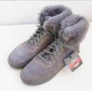 Low boot gris cuir